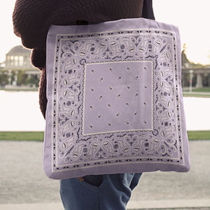 Lavender purple bandana tote bag