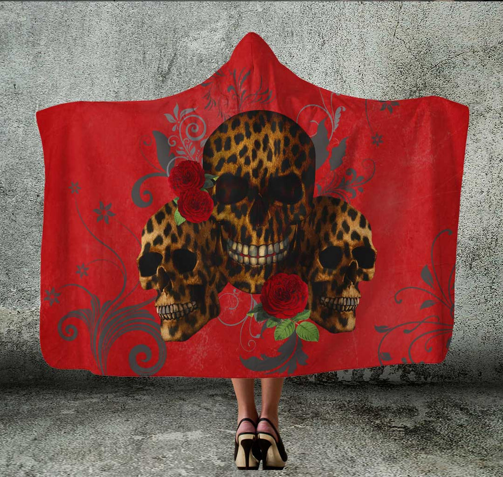 Red Hooded Blanket with Skulls