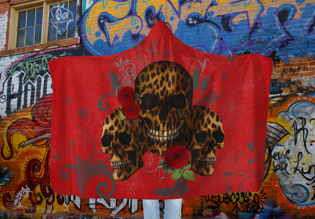 Red Hooded Blanket with Leopard Skulls