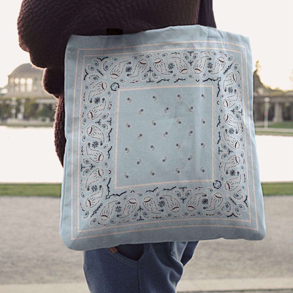 Light Blue Paisley Bandana Tote Bag