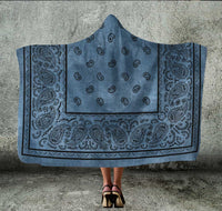 Faded Blue Bandana Hooded Blanket