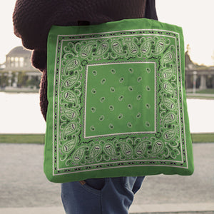 Bright Green Paisley Bandana Tote Bag