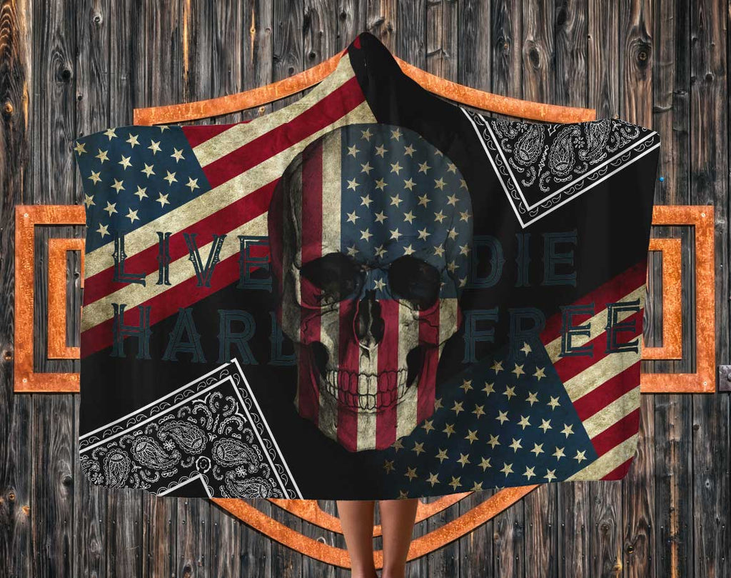 Live Hard Flag and Skull Hooded Blanket