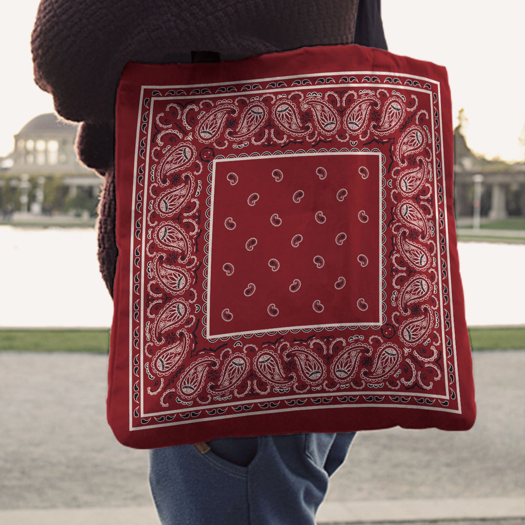 Maroon Red Paisley Bandana Tote Bag