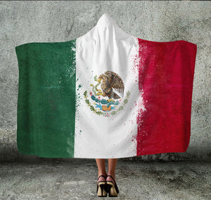 Mexico Flag Hooded Blanket