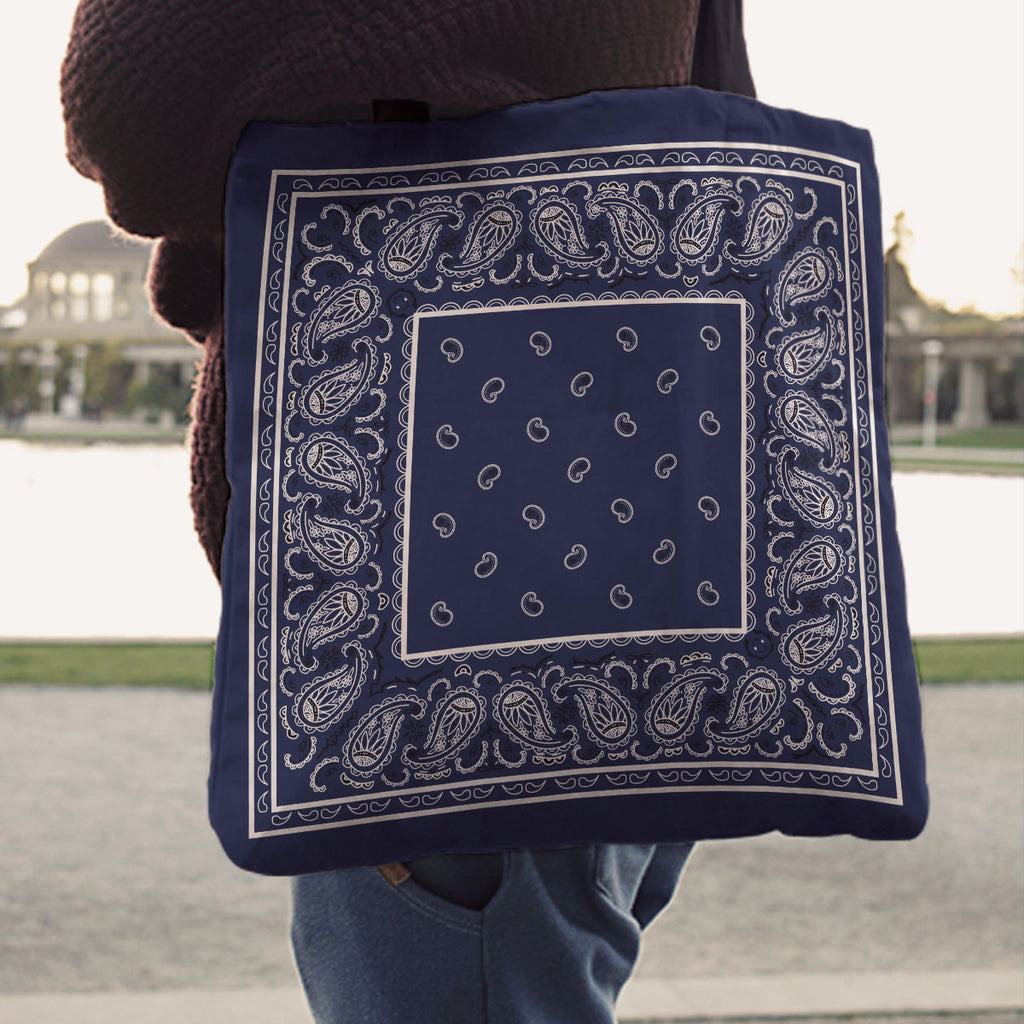 Navy Blue Paisley Bandana Tote Bag