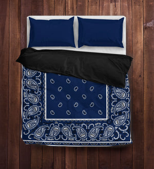 Navy Blue Bandana Duvet Cover Set