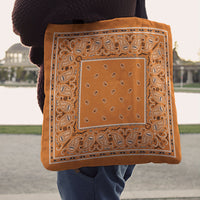 bright orange bandana tote bags