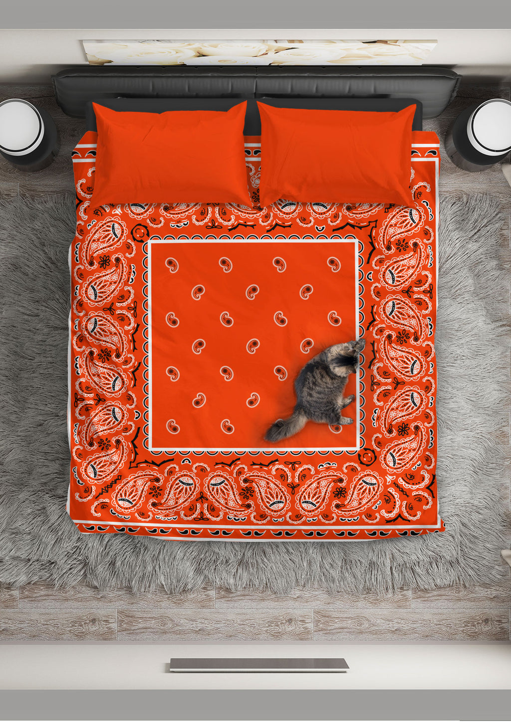 Orange Bandana Duvet Cover Set