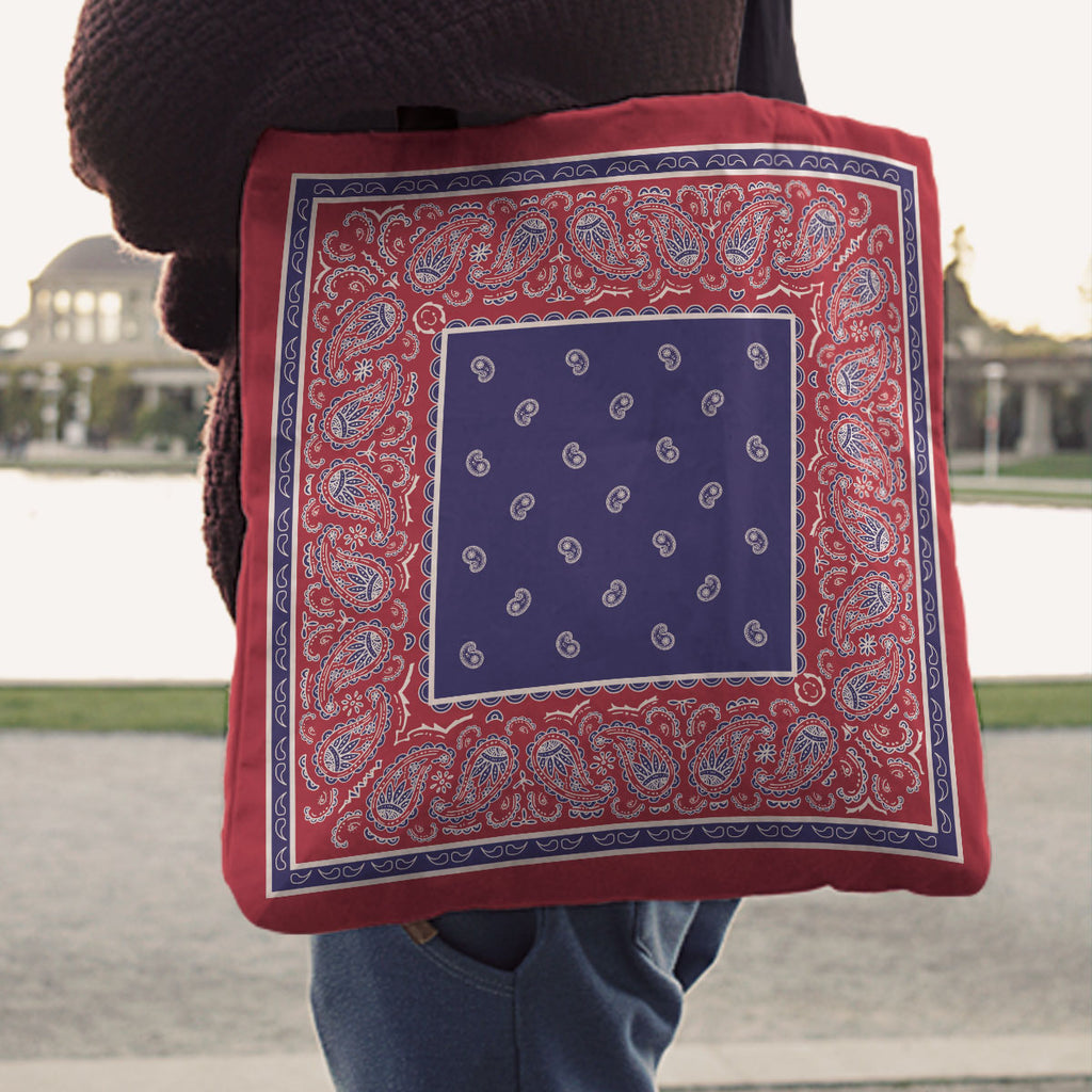Red White and Blue Bandana Tote Bags