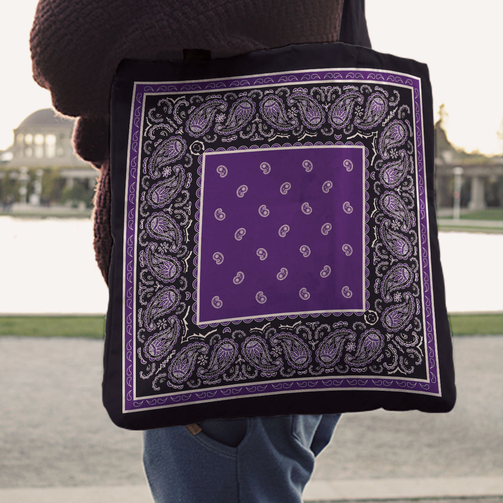 Purple and Black Paisley Bandana Tote Bag