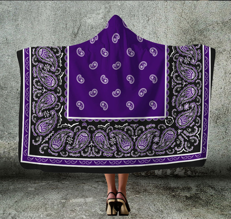 Purple and Black Hooded Blanket