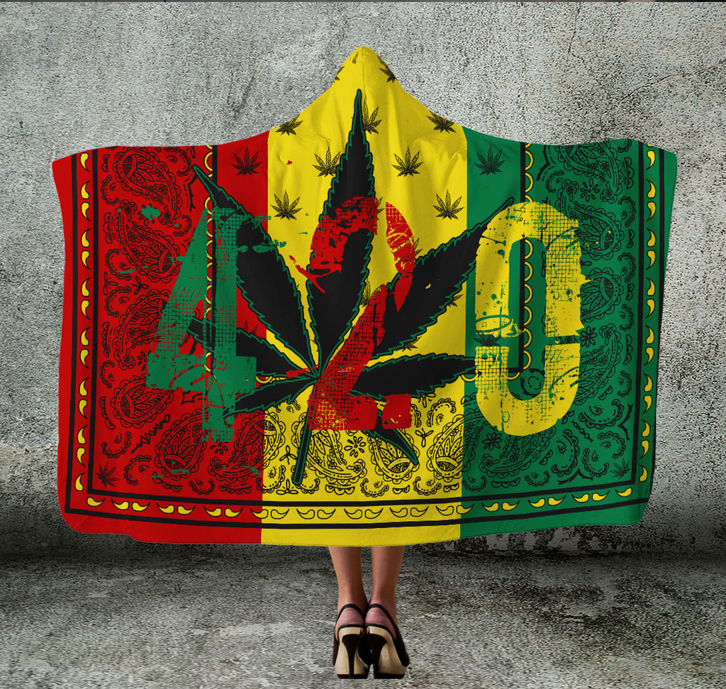 Ultimate Rasta 420 Hooded Blanket