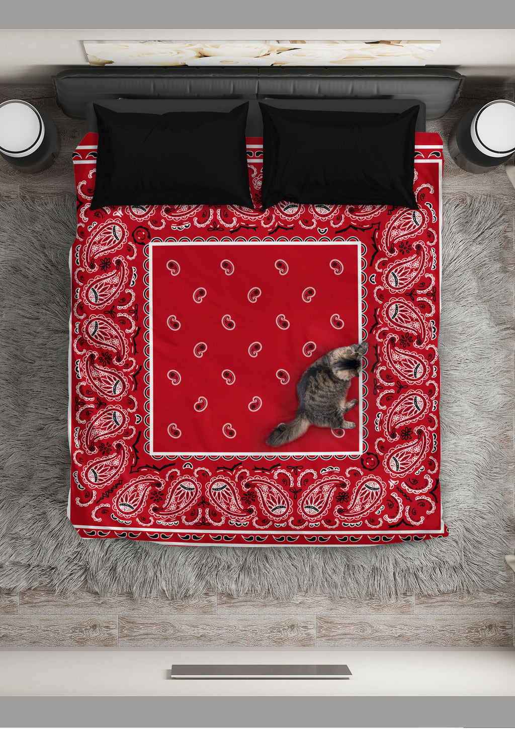 Red Bandana Duvet Cover Set
