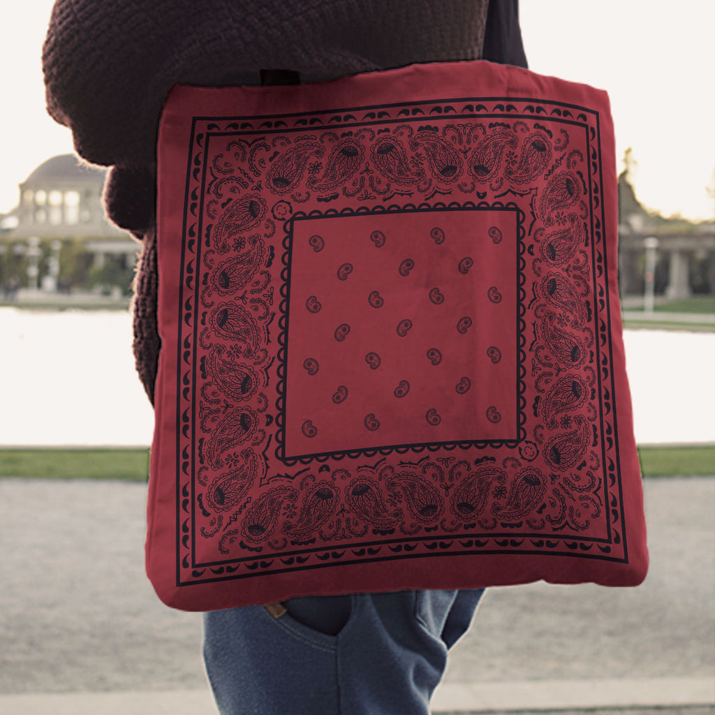 Black and Red Paisley Bandana Tote Bag