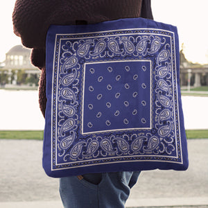 royal blue Paisley Bandana Tote Bag