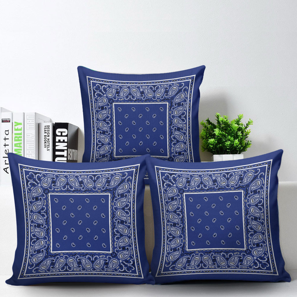 royal blue bandana throw pillows