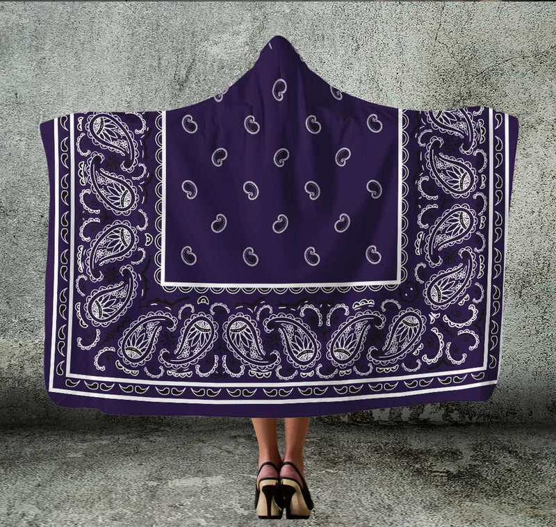 Royal Purple Bandana Hooded Blanket