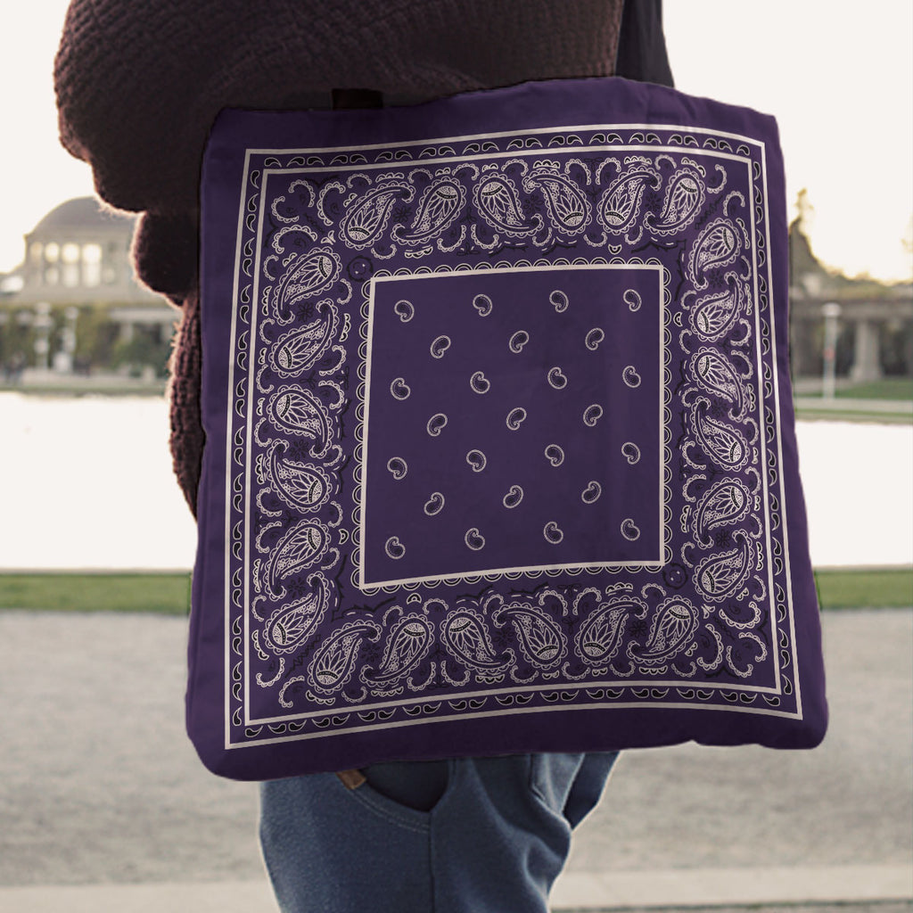 Royal Purple Paisley Bandana Tote Bag
