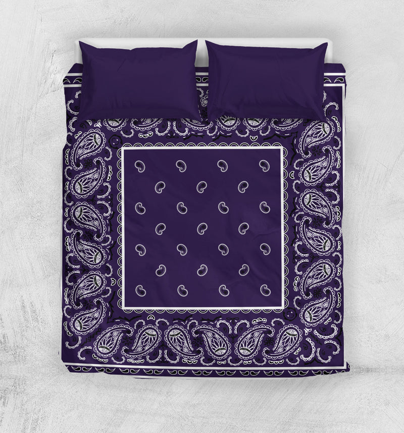 Royal Purple Bandana Duvet Cover Set