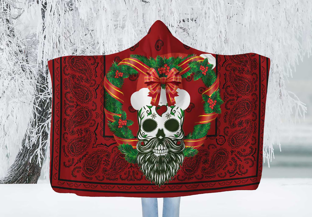 Sugar Skull Santa Holiday Hooded Blanket