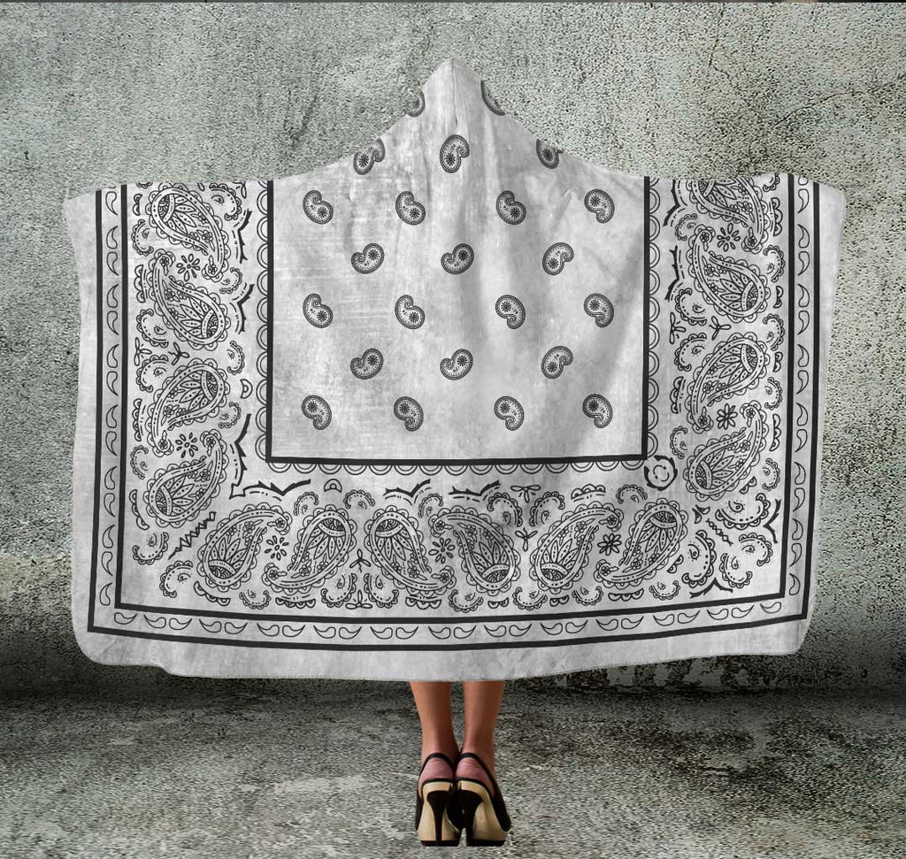 Silver Gray Bandana Hooded Blanket
