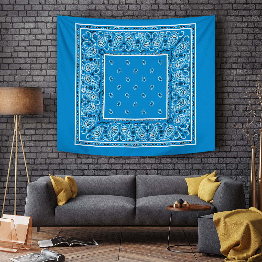 blue bandanna wall art tapestry