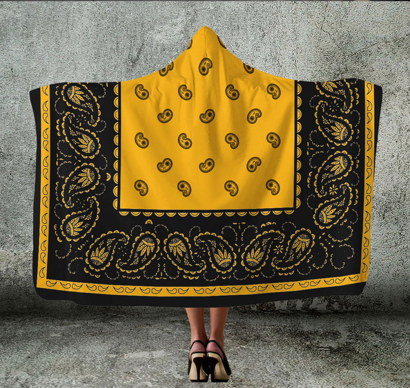 Gold with Black Bandana Hooded Blanket