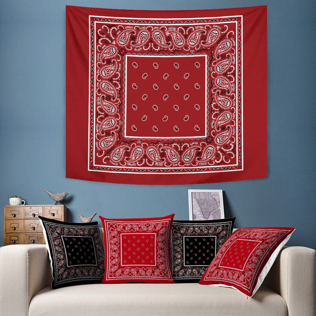 Red Bandana Wall Art Tapestries