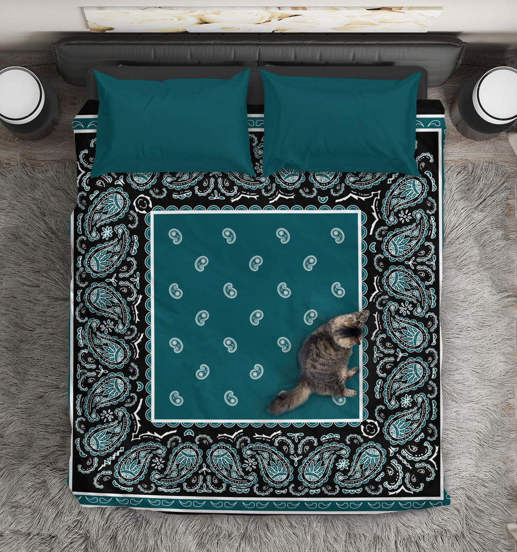 Peacock Blue and Black Bandana Duvet