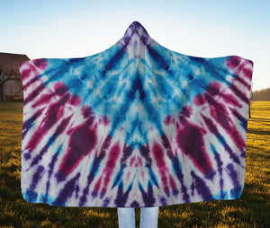 Bohemian Tie-Dye Hooded Blanket