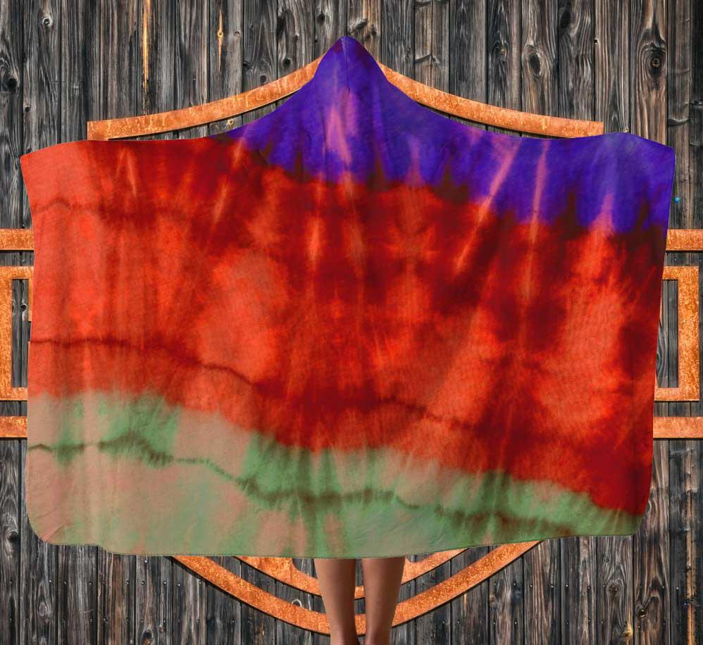 Inside tie dye hooded blanket