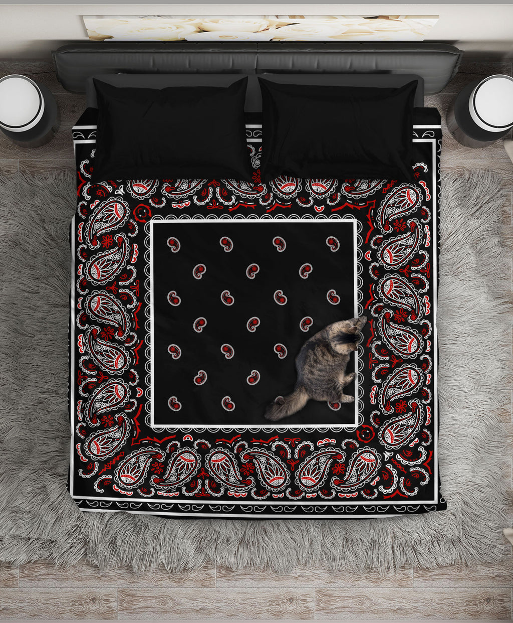 Black Bandana Duvet Cover Set