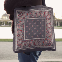 Gray and Red Paisley Bandana Tote Bag