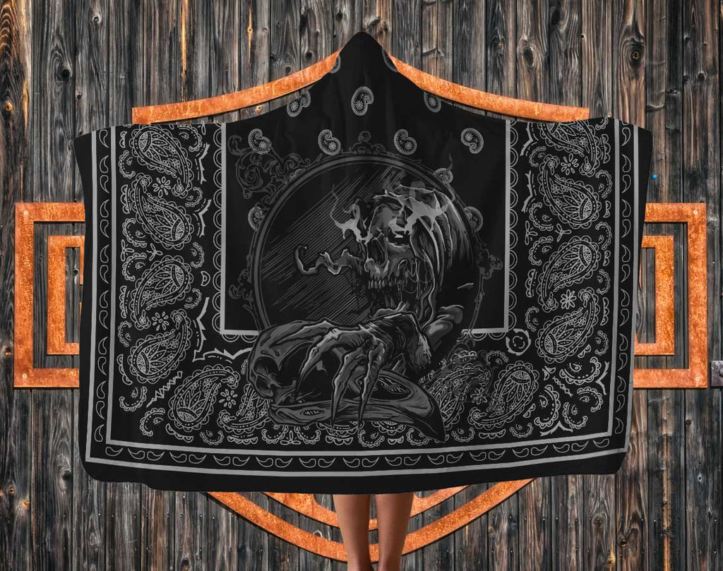 skull on black bandana hooded biker blanket