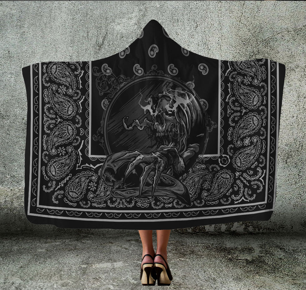 skull on black bandana hooded blanket