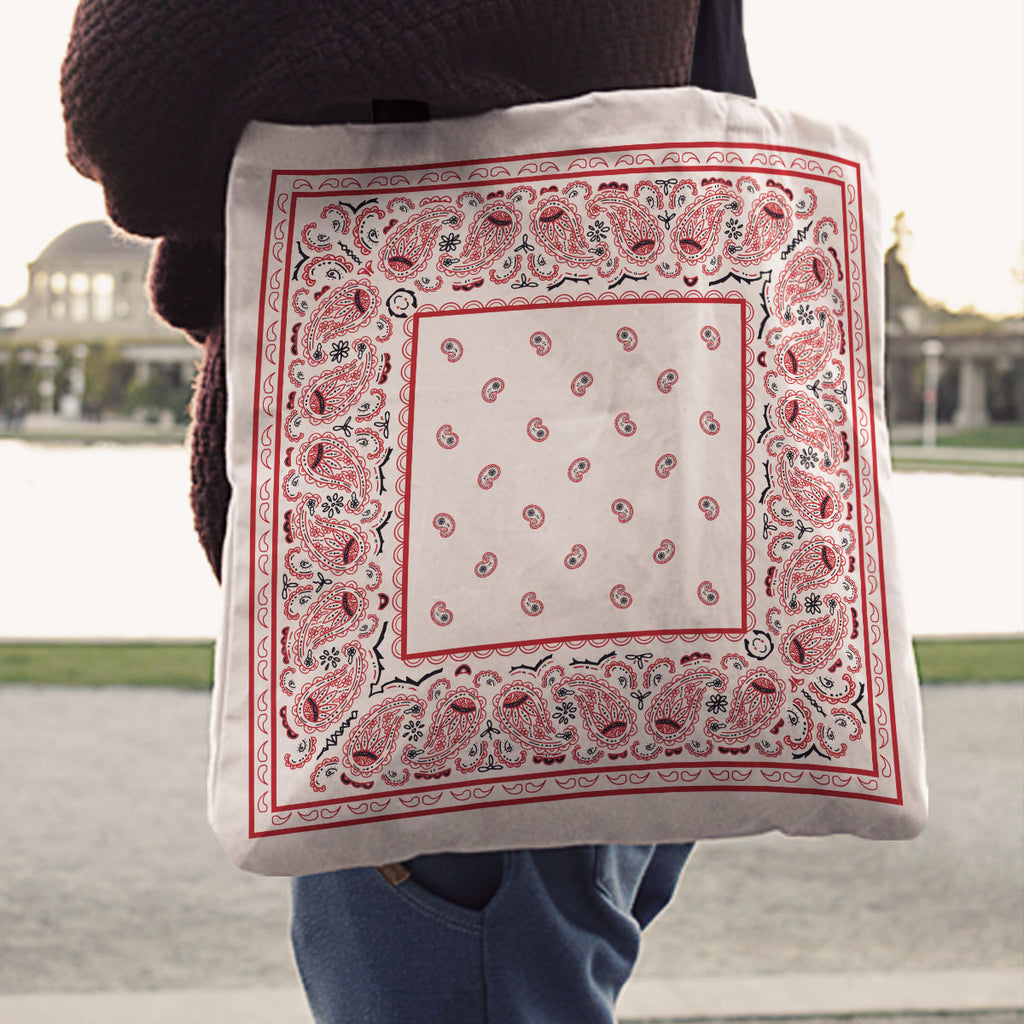 white and red Paisley Bandana Tote Bag