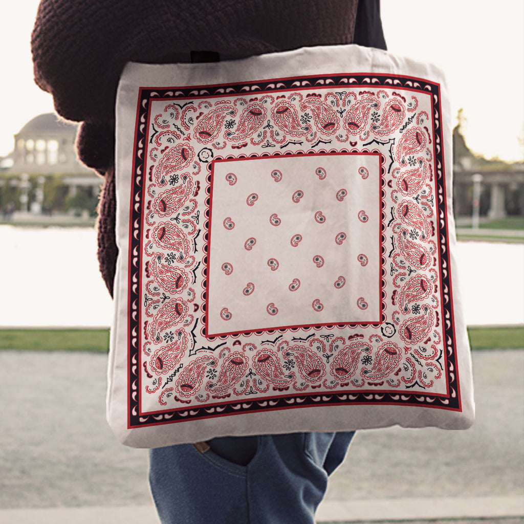White Red and Black Paisley Bandana Tote Bag