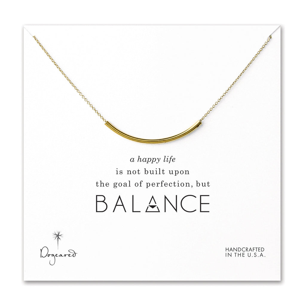 Dogeared, Balance Curved Tube Necklace, Gold Dipped