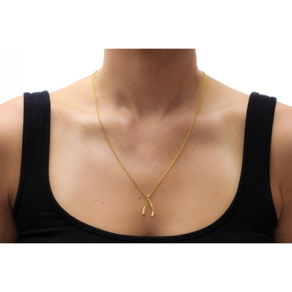 Dogeared make a wish large wishbone necklace gold dipped 2 inch dogeared make a wish large wishbone necklace gold dipped aloadofball