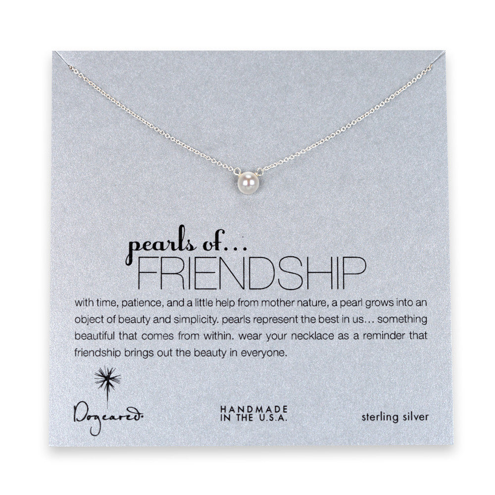 Dogeared, Pearls of Friendship White Pearl Necklace, Sterling Silver