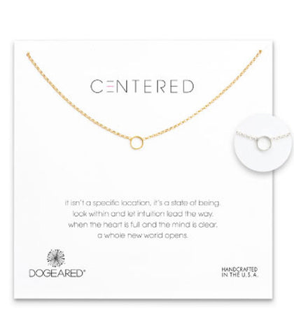 Dogeared Centered Open Circle Soldered Necklace -  Sterling Silver & Gold Dipped 16 inch