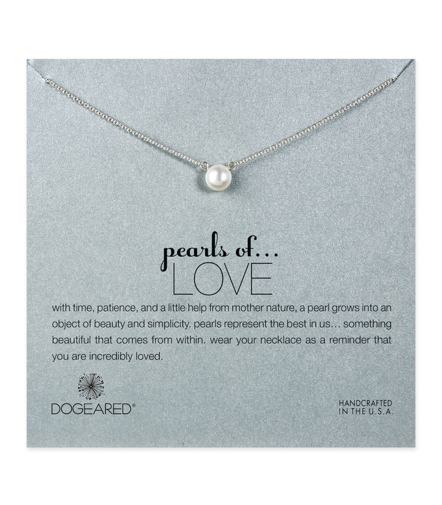 Dogeared, Pearls of Love White Pearl Necklace, Sterling Silver 16 inch