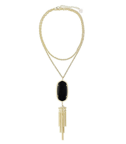 Kendra Scott Rayne Long Gold Necklace - Black Opaque Glass 30 inch