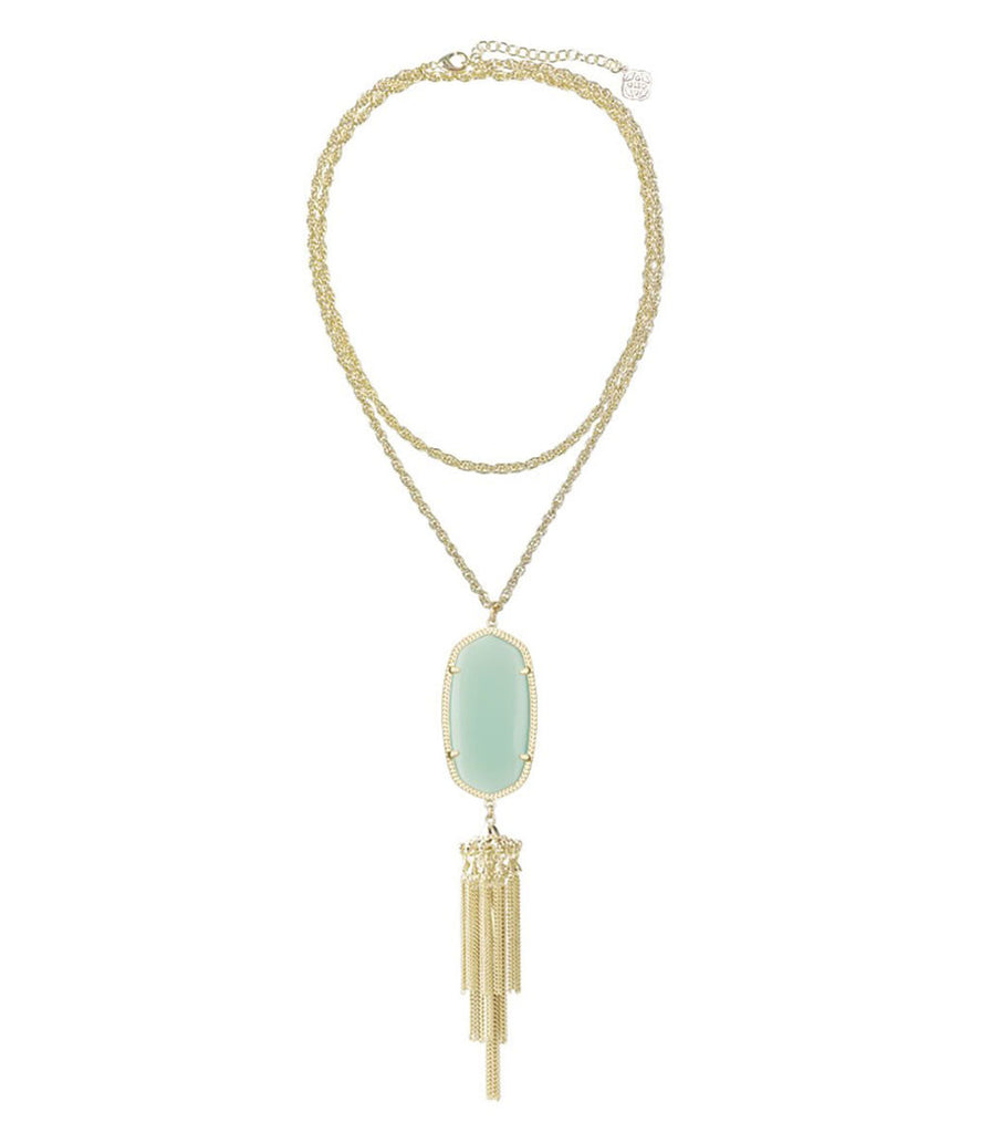 Kendra Scott Rayne Long Gold Necklace - Chalcedony Mint Green 30 inch