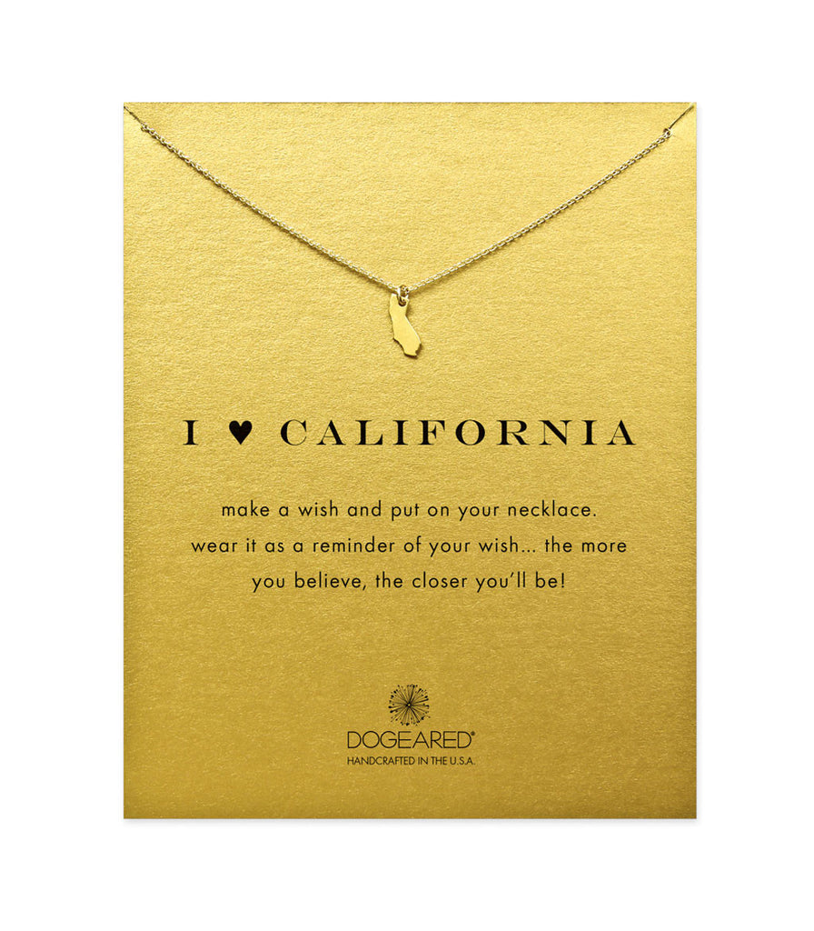 Dogeared I Heart California Necklace, Gold Dipped 16 inch
