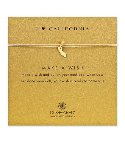 Dogeared I Heart California Gold Silk Necklace, Gold Dipped 16 inch