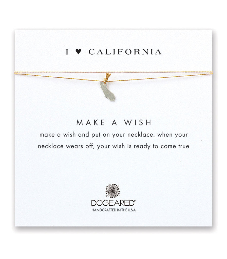 Dogeared I Heart California Gold Silk Necklace, Sterling Silver 16 inch