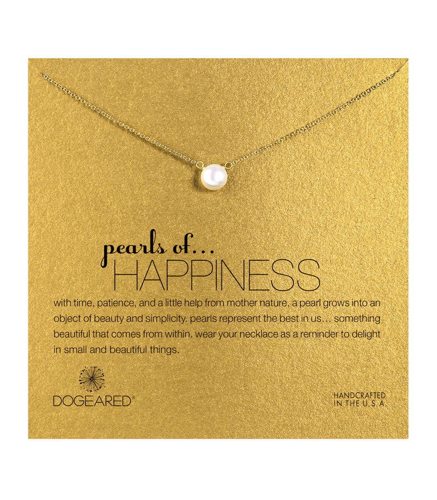 Dogeared Pearls of Happiness White Pearl Necklace, Gold Dipped 16 inch