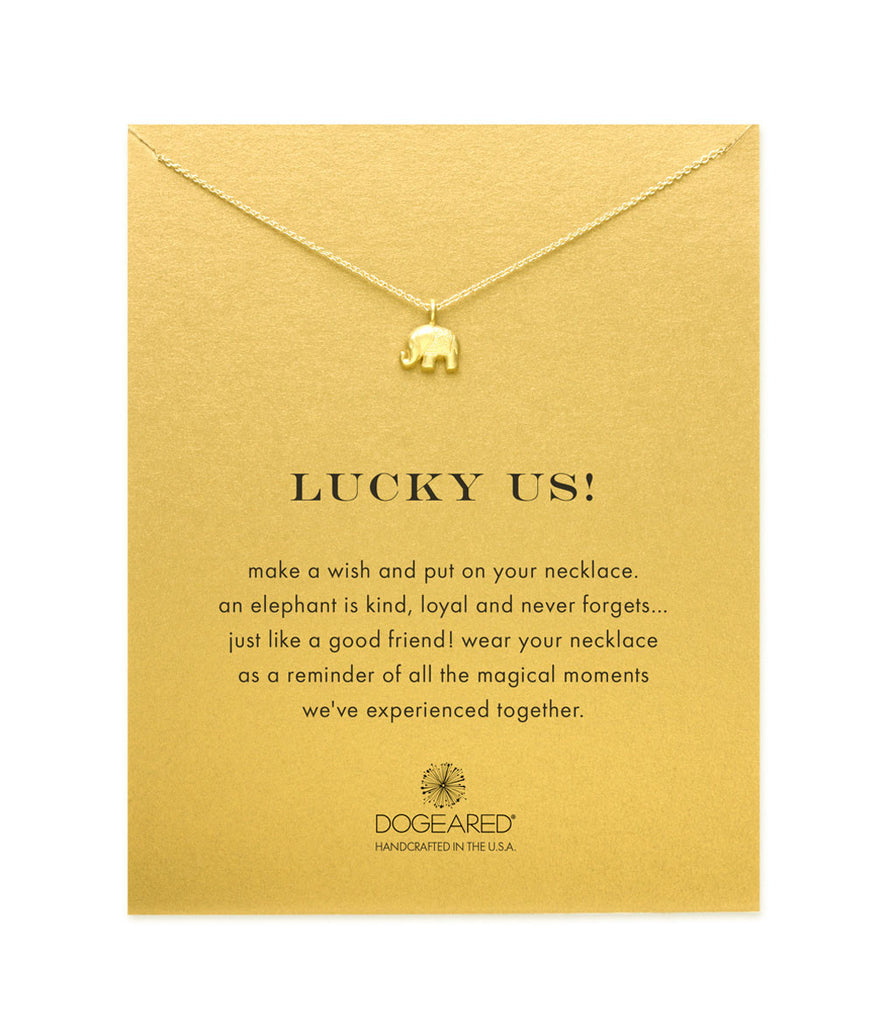 Dogeared Lucky Us Elephant Necklace, Gold Dipped 16 inch